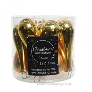 12 pz - Palline gocce Oro decorative in vetro per l'Albero 7.5 cm - Natale
