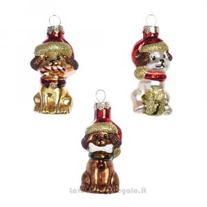 6 pz - Palline decorative cagnolini per l'Albero Modelli Assortiti 4x3.5x7 cm - Natale