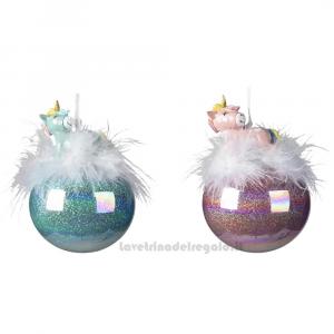 Pallina decorativa con unicorno e piume in vetro per l'Albero Colori Assortiti - Natale