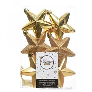 6 pz - Stella oro decorativa in vetro per l'Albero 7.5x2x7.5 cm - Natale