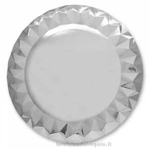 5 pz - Maxi Piatti Diamant Argento 25° Anniversario Nozze 33 cm - Party tavola