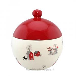Barattolo rotondo con coperchio Rosso in ceramica 18x18x21 cm - Natale