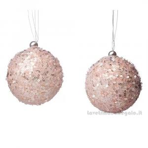 6 pz - Palline decorative Rosa con paillettes per l'Albero 8 cm - Natale
