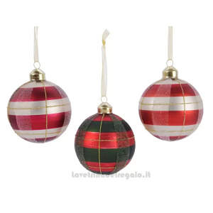 Pallina con decoro Scozzese in vetro per l'Albero Colori Assortiti 8 cm - Natale