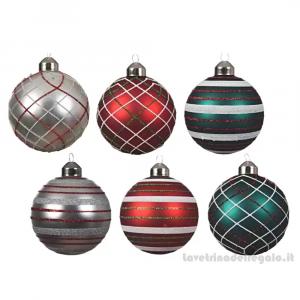 Pallina con vari decori in vetro per l'Albero Colori Assortiti 8 cm - Natale