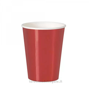 8 pz - Bicchieri rosso Metal di carta - Party tavola