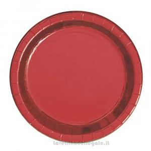 8 pz - Piatto grande Rosso Metal di carta 22 cm - Party tavola