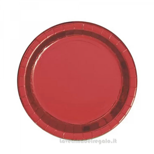8 pz - Piatto piccolo Rosso Metal di carta 17 cm - Party tavola