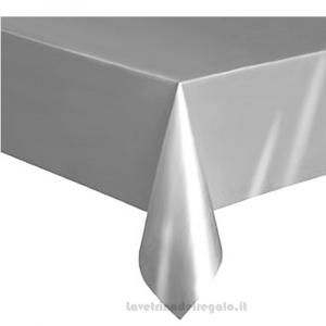 Tovaglia Argento 25° Anniversario Nozze in plastica 137x274 cm - Party tavola