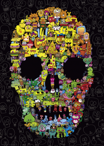 Heye 29850-Pens are my friends puzzle 1000 pz Doodle  Skull