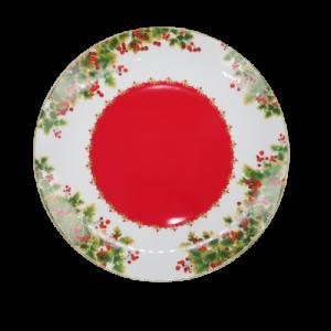 Brandani piatto portata 30cm rosso e rami verdi