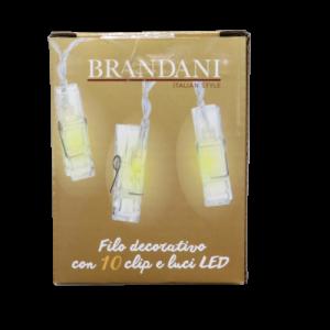 Brandani, filo 10 luci led con mollettina