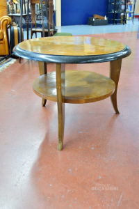 Tavolino Da Soggiorno In Legno Rotondo Con Ripiano Bordo Nero