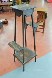 Alzatina Porta Piante In Legno Scuro Antico Con 4 Ripiani
