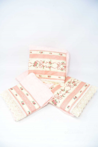 Complete Towels 5 Pieces Roses With Flowers Barbacci Embroidery Florence