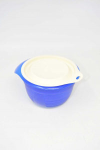 Container Tupperware In Plastic Blue Lid White