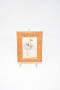 Quadretto In Legno Con Tela Stampa Ballerina Firmato Nardi 14 X 11.5 Cm