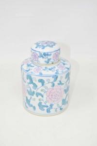 Vaso In Ceramica Bianca Fantasia Orientali Fiori Rosa 15 Cm Altezza