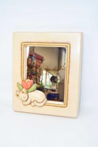 Specchio In Ceramica Thun Con Gatto 34.5x28.5 Cm