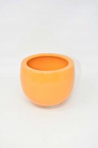 Vaso Porta Fiori Arancione Tondo 14 Cm Diametro