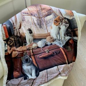 Plaid stampa digitale gatti vintage