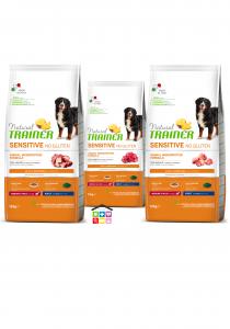 NATURAL TRAINER   LINEA SECCO CANE Sensitive No Gluten   Medium / Maxi ADULT ( Salmone / Anatra / Agnello / Maiale) / 3kg