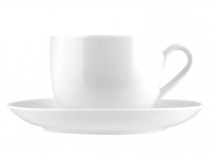 6 Tazze Colazione Con Piatto In Porcellana Oslo Bianco 0,45