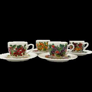 Brandani 4 tazze caffe Le primizie porcellana