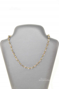 Collana Perle In Vetro Murrina Nero Oro 45 Cm