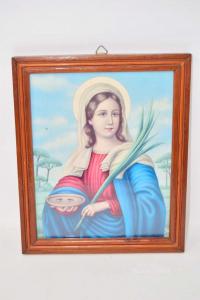 Quadro Stampa Santa Lucia Cornice In Legno 22x26 Cm I