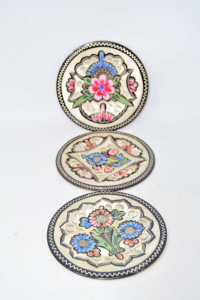 Copper Plate Hand Decorated Flowers 3 Pieces 14 Cm Diameter