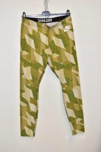 Leggins Donna Nike Tg L Fantasia Geometrica Verde
