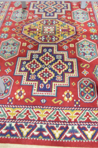 Carpet Red Blue With Fringes White 145x230 Cm