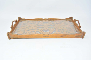 Tray Rectangular Wood Carved 32x20 Cm With Glass Shelf Defect