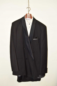Complete Man Black Cacharel Size 52 Included Of Shirt,fusciacca,papillon
