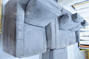Sofa Gray In Alcantara With Puff And Armchair Of Poltronesofà