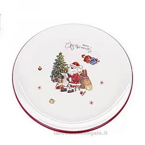 Vassoio Tortiera rotonda con Babbo Natale in ceramica 28 cm - Natale
