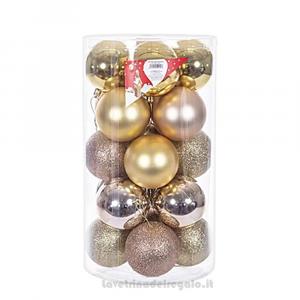 20 pz - Palline decorative Oro e Rosa Gold per l'Albero 8 cm - Natale
