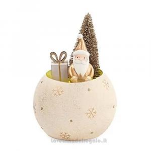 Mezza sfera con Babbo Natale e luci LED in ceramica 11x16 cm - Natale