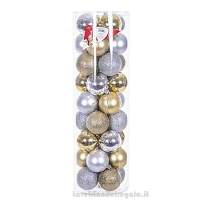 36 pz - Palline decorative Oro e Argento per l'Albero 6 cm - Natale