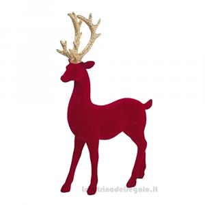 Decorazione Renna rossa floccata con corna Oro 31 cm - Natale