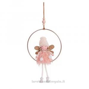 Decorazione Angelo rosa seduto su cerchio da appendere 15x23 cm - Natale