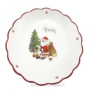 Piatto Centrotavola rotondo con Babbo Natale in ceramica 25 cm - Natale