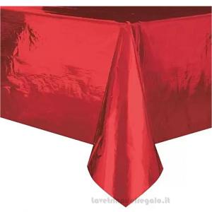 Tovaglia Rosso Metal plastificata 137x274 cm - Party tavola