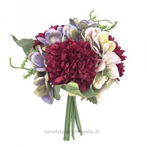 Bouquet di Fiori artificiali con Peonie e Ortensia carminio 30 cm - Decorazioni bomboniere