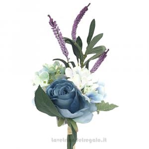 Bouquet di Fiori artificiali con Rosa Blu, Ortensia e Lavanda 40 cm - Decorazioni bomboniere