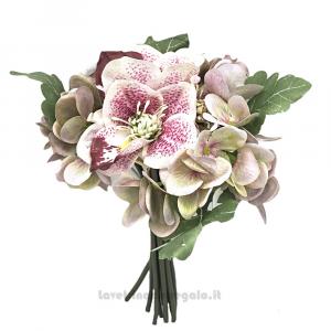 Bouquet di Fiori artificiali con Elleboro e Ortensia rosa e viola 25 cm - Decorazioni bomboniere
