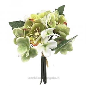 Bouquet di Fiori artificiali con Elleboro e Ortensia bianca e verde 25 cm - Decorazioni bomboniere