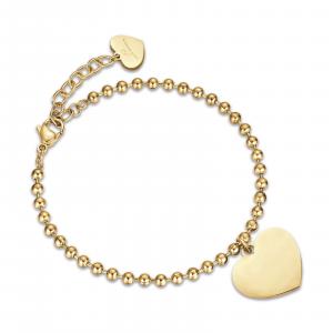 Luca Barra - Bracciale in acciaio ip gold con cuori
