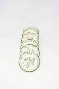 Set 6 Coasters Ceramic Bassano Hand Painted